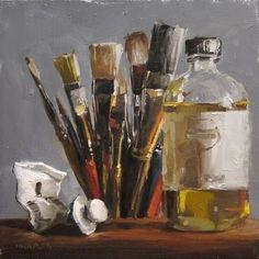 Still life art supplies. Very cool Painting.