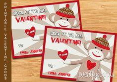 Sock Monkey Valentine - Printable Valentines Day Cards