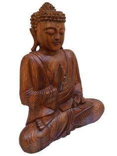 Escultura de Buda p/ decoração -Artesanato Madeira Suar 40cm - http://www.artesintonia.com.br/produto/escultura-de-buda-p-decoracao-artesanato-madeira-suar-40cm.html