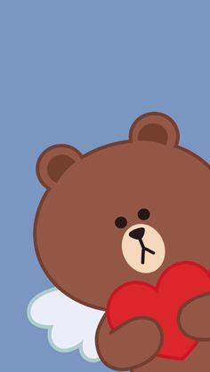 Kaws Iphone Wallpaper, Wings Wallpaper, Disney Phone Wallpaper, Bear Wallpaper, Love Wallpaper, Line Brown Bear, Rilakkuma Wallpaper, Chibi Cat, Emoji Pictures