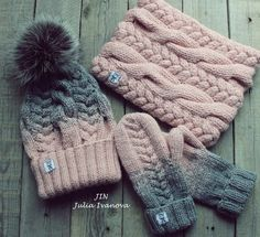 Discover thousands of images about Knitted hat and mittens Crochet Scarves, Knit Crochet, Crochet Hats, Knitting Projects, Knitting Patterns, Cute Beanies, Cable Knit Hat, Crochet Girls, Crochet Fashion