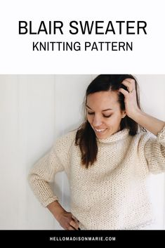 The Blair sweater is a cozy, chic, easy to style, roll neck jumper with a cropped fit. Inspired by vintage fashion, but still modern with the . Easy Sweater Knitting Patterns, Jumper Patterns, Knitting Designs, Crochet Patterns, Free Knitting, Roll Neck Jumpers, Roll Neck Sweater, Vintage Mode, Knitting Accessories