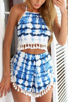 Beautiful Blue and White Tank Top + Shorts Set