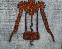 Corkscrew Rusty Metal Wall Decor Housewarming Gift