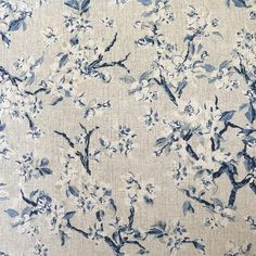 Indigo blue floral print on a mottled grey base cloth. A medium weight fabric that is perfect for curtains, cushions, accessories and occasional upholstery. Curtain Fabric, Indigo Blue, Upholstery, Floral Prints, Fabrics, Tejidos, Tapestries, Floral Patterns, Reupholster Furniture