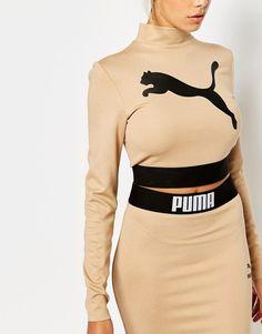 Puma Camel Long Sleeve Crop Top Co Ord
