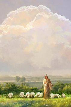 i shall not want by yongsung kim jesus christ large sky field flock sheep fluffy clouds Pictures Of Jesus Christ, Jesus Christ Images, Church Of Jesus Christ, Bible Pictures, Pictures Images, Lord Is My Shepherd, The Good Shepherd, Jesus Shepherd, Site Art