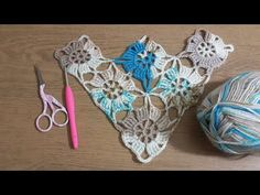Crochet Knit Shawl Model, Triangle shawl sample making with square motifs Vid . - Knitting a love Crochet Stitches Patterns, Crochet Chart, Knitting Stitches, Crochet Designs, Knitting Patterns Free, Crochet Wool, Thread Crochet, Crochet Doilies, Hand Crochet
