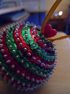 How To Decorate Polystyrene Balls Sequin Ornament Ball Christmas Ornament Christmasmyarteasure