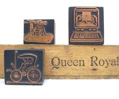 Vintage Printers Blocks Letterpress Wooden Typeset Copper. $22.00, via Etsy.