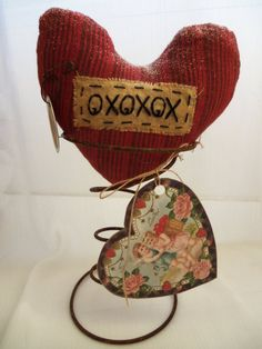Primitive Valentine Heart OXOXOX - Make Do Rusty Bed Spring - Heart Tag