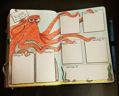Creative Inspiration: Octopus Bullet Journal Weekly Spread. We love sharing inspired bujo pages like this octopus under the sea weekly planner. Organization meets art.