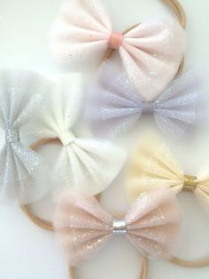 Items similar to Sparkle Tulle Bows - Neutrals - Tulle bow headbands, Tulle bow hair clips, Pastel bows, Glitter bows, Sparkle bows 3 WEEK TURNAROUND on Etsy Tulle Hair Bows, Diy Hair Bows, Diy Bow, Ribbon Hair Bows, Bows With Ribbon, Ribbon Art, Diy Headband, Bow Headbands, Barrettes