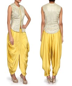 Gold dhoti suit adorn in sequin and zari embroidery