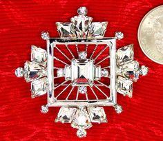 Vintage Denbè Brooch / Pendant Clear Crystal Glass by imagiLena