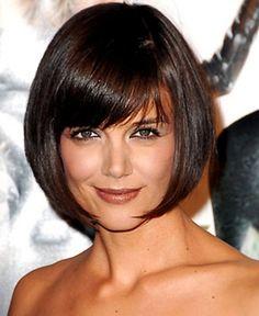 Katie Holmes - Bob haircut w bangs (hmm...do I dare go dark?)