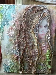 Mixed Media - arise your tangles sweet spring, worked in antique threads, metals, plastics and and hand dyed vintage textiles
