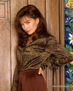Lesley Anne Down - brown satin blouse Satin Bluse, Bold And The Beautiful, Pretty Shirts, Beautiful Blouses, Perfect Woman, Celebrity Pictures, Ruffle Blouse, Feminine, Celebs