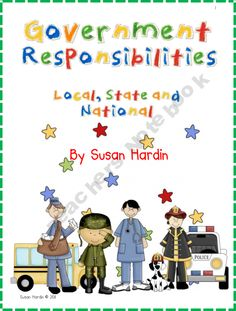 Your kiddos will love this unit with its fun approach to learning about government services at the local, state and national levels. This unit includes:  *Unit plans(5 days)  *a flap book activity  *cut and paste sorting activity-assessment  *cut and paste sorting answer key  *clip art for student use  *charts that can be used on smart board  *large game board with attractive clipart  *30 game cards with answers on back  *instructions for circle maps (clipart included)