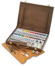 Old Holland oil paint set in wood case.