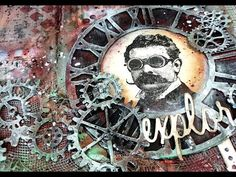 Mixed Media Art Journal / Faux patina effect gears and background / DIY vintage photo whit a twist Art Journal Tutorial, Background Diy, Mixed Media Techniques, Mixed Media Art, Vintage Photos, Gears, Rust, Halloween, Madness