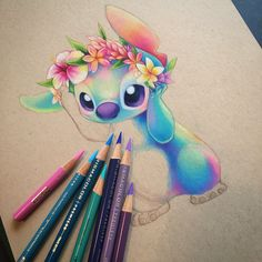 Prismacolor gives life💖… lilo and stitch Art Drawings Beautiful, Amazing Drawings, Colorful Drawings, Beautiful Tattoos, Lilo And Stitch Drawings, Lilo And Stitch Tattoo, Cute Disney Drawings, Cute Drawings, Animal Drawings