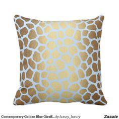 Shop Contemporary Golden Blue Giraffe Safari Skin Cushion created by luxury_luxury. Anaconda Snake, Jaguar Leopard, Unique Animals, Luxury Gifts, Python, Giraffe, Safari, Africa, Cushions