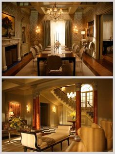 Luxurious Living/Dining Room - The Waldorf Residence (Gossip Girl) (Christina Tonkin Interiors)---beautiful except the wallpaper Interior Exterior, Luxury Interior, Interior Design, Gossip Girl Decor, Gossip Girl Bedroom, Blair Waldorf Room, Girls Apartment, Girl House, Celebrity Houses
