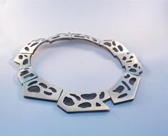 silver choker - hinged-oxidized