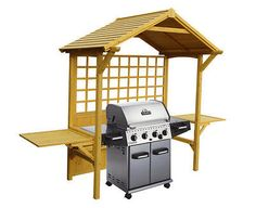 Bbq Grill Gazebo Barbecue Shelter Wood Arbor Bench Bbq Outdoor Cooking Station