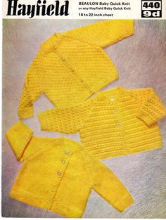 Hayfield 440 Vintage Knitting Pattern for by VintagePatternEmpor Baby Cardigan Knitting Pattern, Baby Knitting Patterns, Baby Patterns, Vintage Patterns, Baby Coat, Quick Knits, How To Start Knitting, Vintage Knitting, Printable Vintage