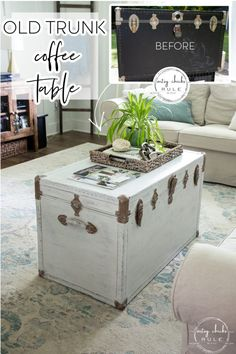 Rustic Trunk Coffee Table, Round Coffee Table, Paint Furniture, Furniture Makeover, Coffee Table Makeover, Old Trunks, White Chalk, Decorating On A Budget, Diy Painting