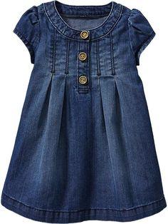 Lovely denim dress for a girl. Little Girl Outfits, Little Girl Fashion, Little Girl Dresses, Toddler Outfits, Kids Outfits, Kids Fashion, Marine Baby, Baby Girl Dresses, Baby Dress