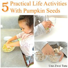 5 pumpkin themed practical life activities for toddlers and preschoolers.