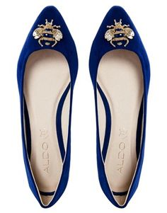 Enlarge ALDO Flat Metal Blue Ballerina Shoes