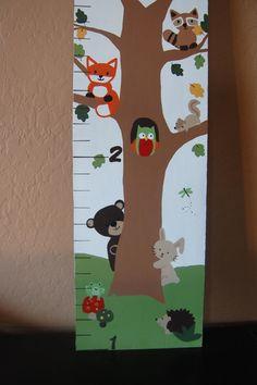 Echo woodland nursery wall decor, custom growth chart, fox, owl, bear, squirrel, hedgehog, forest, baby shower gift