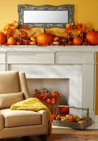 28 Fall Mantel Ideas | Midwest Living Diy Thanksgiving Centerpieces, Fall Mantel Decorations, Thanksgiving Crafts, Decoration Table, Mantel Ideas, Hosting Thanksgiving, Harvest Decorations, Thanksgiving Tablescapes, Outdoor Decorations