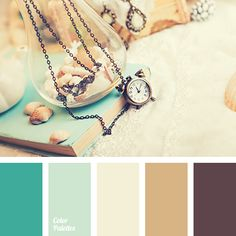 brown and turquoise, creamy-yellow, dark turquoise, delicate turquoise, light turquoise, old book color, sepia, sepia color, shades of brown, shades of sand, shades of turquoise, turquoise and brown, yellow shade of cream, yellow-brown.