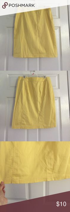 "Sunny Leigh Butter Yellow Pencil Skirt Beautiful yellow Pencil Skirt! It's in good, pre-loved condition. There is some faint pink staining on the waistband (see last pic) but it's not noticeable when worn. There were two slits sewn up on the back. Size 12, fits 8-10. Length: 24"" Sunny Leigh Skirts Pencil"