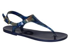Menghi flat t-strap sandals in blue Rubber printed python - Italian Boutique €52