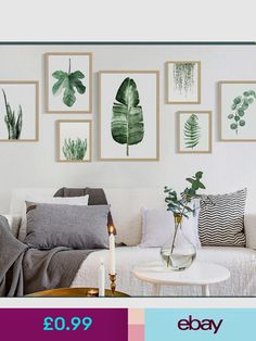 Green Plants Canvas Art Print Poster Leaf Painting Wall Pictures OF