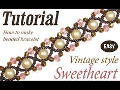 "Seed bead jewelry Tutorial: Vintage beaded bracelet ""Sweetheart"" ~ Seed Bead Tutorials Discovred by : Linda Linebaugh Beaded Bracelets Tutorial, Bead Loom Bracelets, Charm Bracelets, Beaded Jewelry Patterns, Beading Patterns, Loom Patterns, Loom Beading, Bracelet Patterns, Making Bracelets With Beads"