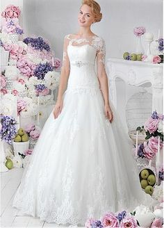 Romantic Tulle Bateau Neckline Dropped Waistline Ball Gown Wedding Dress With Lace Appliques