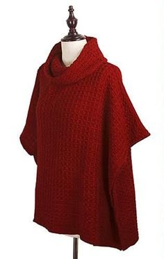 StylesILove Womens Trendy Knit Fashion Cardigan Poncho Cape Sweater (One Size Fits Most, Square Pattern Burgundy) -- Awesome products selected by Anna Churchill