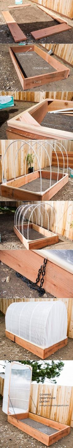 Make a small greenhouse out of a raised garden bed. Looks like you can add the greenhouse part to existing raised beds. Could come in handy for an earlier and longer harvest season! Diy Small Greenhouse, Greenhouse Gardening, Greenhouse Ideas, Greenhouse Cover, Homemade Greenhouse, Container Gardening, Raised Garden Beds, Raised Beds, Raised Gardens