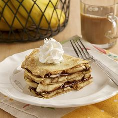 Gluten Free Peanut Butter and Banana Crepe Stack--Reddiwip