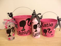 Personalized metal bucket, 2 quart, Barbie silhouette w/ bling, Birthday Room decor Match your costume for Halloween, Easter Valentine