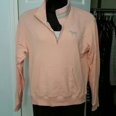 Reduced! PINK VICTORIA SECRET sweatshirt Peach with gray . Excellent condition only worn maybe 3 times! PINK Victoria's Secret Tops Sweatshirts & Hoodies