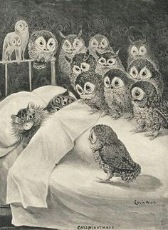 """""""I wish I could write as mysterious as a cat."""" --Edgar Allan Poe. Cats Nightmare, Louis Wain. 1890s. Louis Wain Cats, Vintage Illustration, Art Illustrations, Owl Art, Pics Art, Art Pictures, Crazy Cats, Crazy Bird, Cute Cats"""