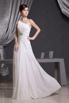 A-line Ein-Schulter bodenlangen Chiffon mit Perlen Ivory Prom Dresses196,00 €   112,00 €